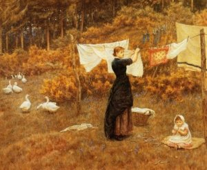 The Clothes Line by Helen Allingham